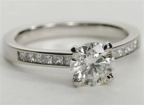 princess cut channel set platinum engagement ring