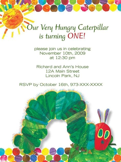 Hungry Caterpillar Invitation Template Free hungry caterpillar invitations
