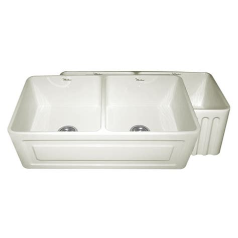 Raised Kitchen Sink Whitehaus Reversible Series Bowl Fireclay Sink With Raised Panel Front Apron 33 W X 18