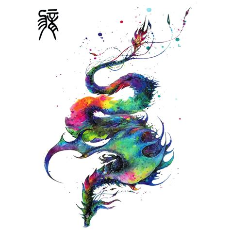 harajuku colorful chinese flying dragon tattoo designs