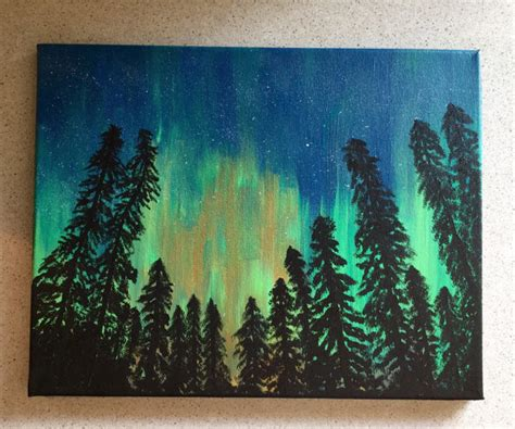 acrylic painting evergreen trees sale borealis northern lights painting