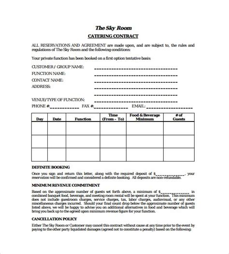 Catering Contract Templates Find Word Templates Catering Contract Template Word