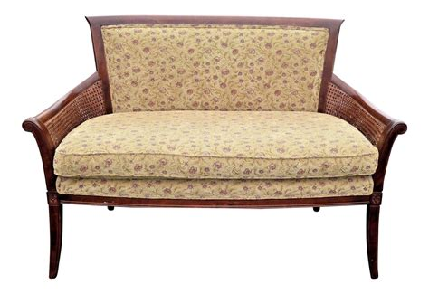 floral settee vintage french country ethan allen double cane floral