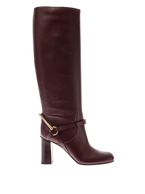 Gc G3000 Gold Purple Leather gucci tess horsebit leather boots in lyst