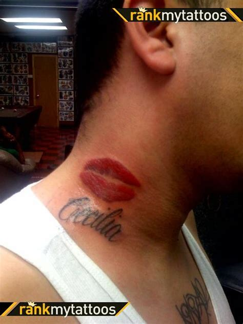 lip tattoo on neck and name on side neck