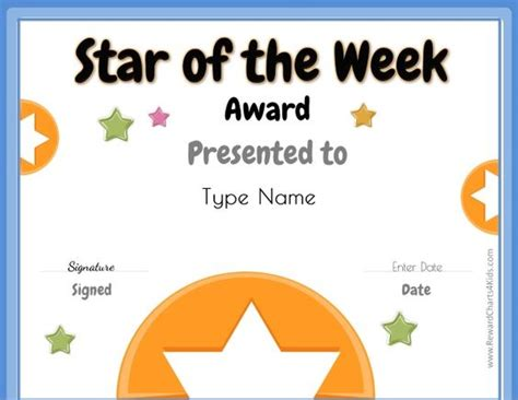 of the week certificate template of the week free printable for teachers of
