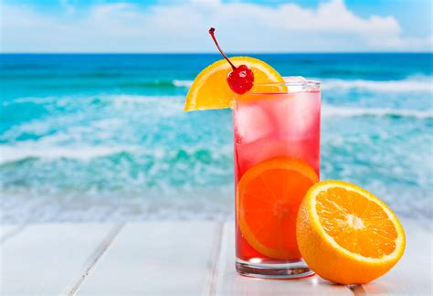 holiday cocktails background drink cocktail orange sea holiday summer glass wave ice hd