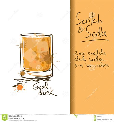 illustration with scotch and soda cocktail royalty free stock photo image 34386945