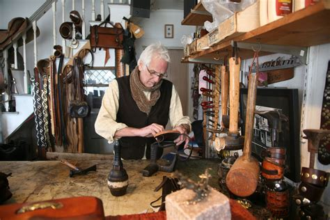 Handmade Leather Workshop - provincetown artist victor powell makes custom leather