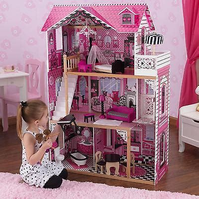 pink wooden doll house barbie doll house kit wooden pink playset dream dollhouse