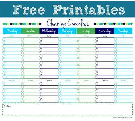 Free Printable Personal House Cleaning Checklist Template For Excel V M D Com House Cleaning Checklist Template Free