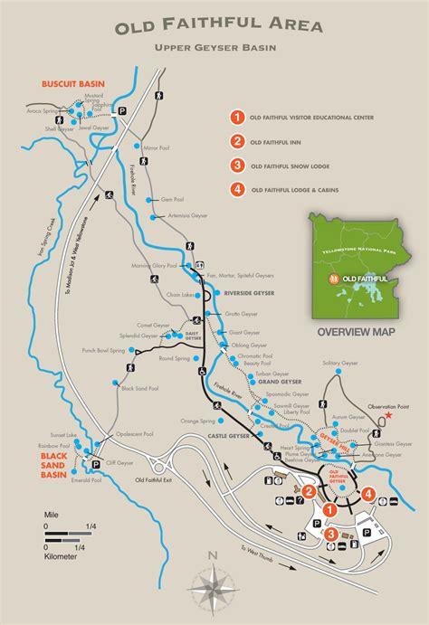 yellowstone geysers map faithful area trail map yellowstone national park