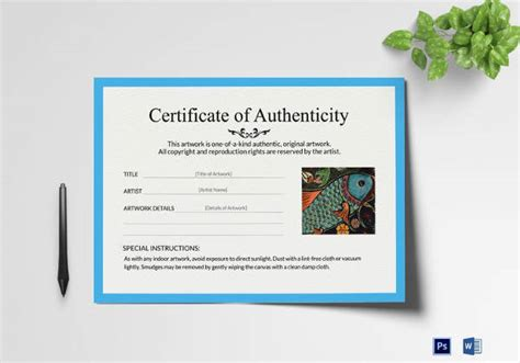 sle certificate of authenticity template 36