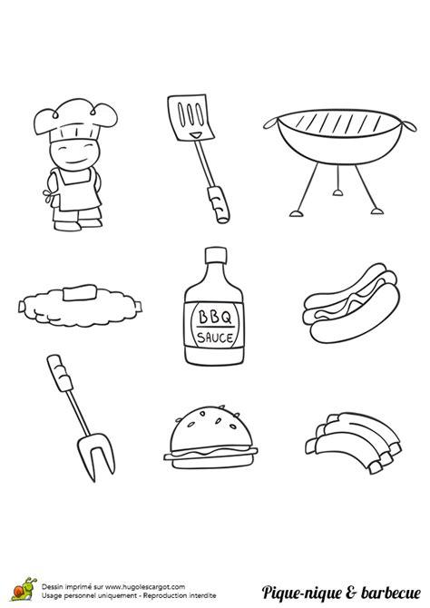 Coloriage pique nique barbecue sur Hugolescargot.com