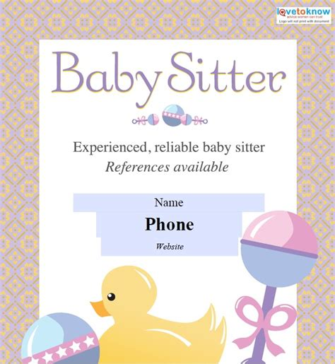 babysitting flyers babysitting flyers template free word templates
