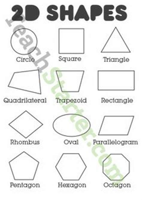 printable individual shapes 2d shapes poster colour teaching resources teach