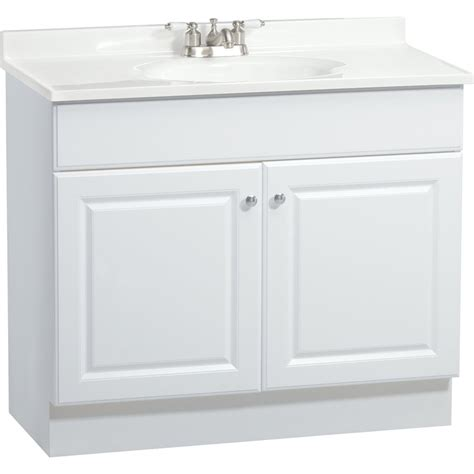 lowes bathroom vanity cabinet project source c14 white integral 1 bathroom vanity with
