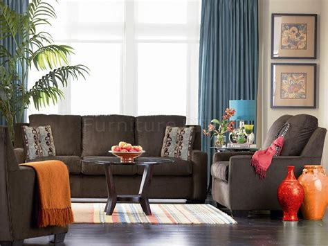 chocolate brown chenille contemporary living room sofa