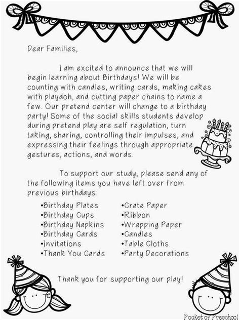 Parent Letter Of The Week Parent Letter To Introduce Our Birthday Theme Study Pocket Of Preschool Birthday Theme