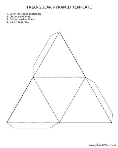 Triangular Pyramid Template printable foldable 3d triangular pyramid template color