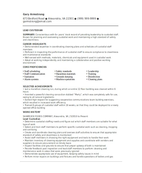 Janitorial Resume Templates by Custodian Resume Template 6 Free Word Pdf Documents