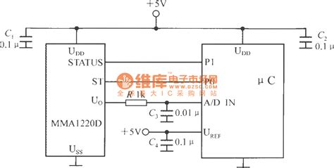 capacitor power supply for microcontroller the interface circuit between single chip accelerometer mma1220d and microcontroller basic
