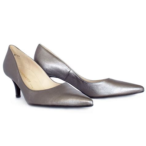 silver slippers kaiser soffi mid heel court shoes in silver