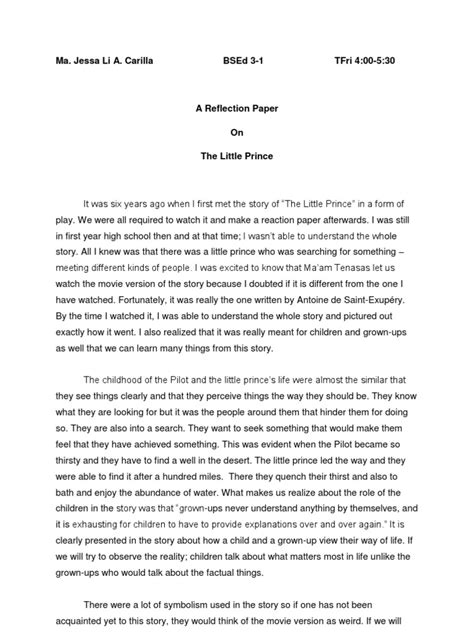 What Is A Reflective Essay by Reflection Paper The Prince
