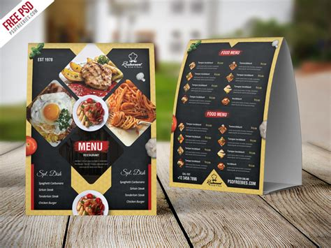 Restaurant Table Tent Card Template by Free Psd Restaurant Menu Table Tent Card Psd Template By