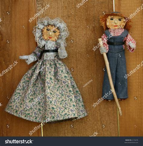pics of corn husk dolls vintage cornhusk dolls from pioneer peoples stock photo