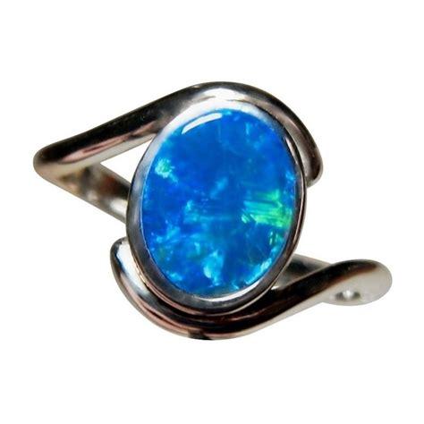 blue opal blue opal ring 925 sterling silver australian opal rings