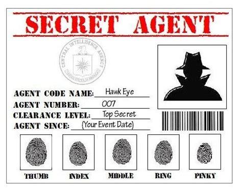 printable spy id cards secret agent spy detective cia printable by