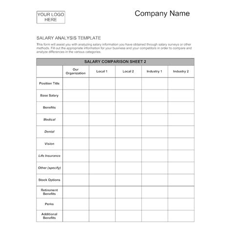 Salary Analysis Template 1 Sle Compensation Analysis Template