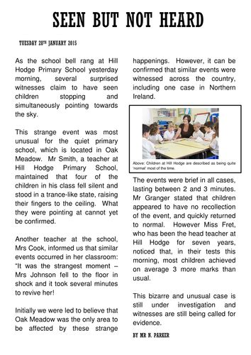 Newspaper Report Example By Xhx Teaching Resources