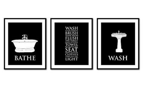 black and white bathroom art bathroom wall art trio bathroom rules bathe wash