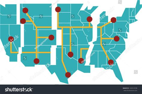 vector map of the united states map united states separated into regions stock vector