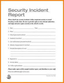Incident Report Exle Security 11 Security Guard Incident Report Template Farmer Resume