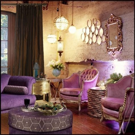 purple and gold room interior design