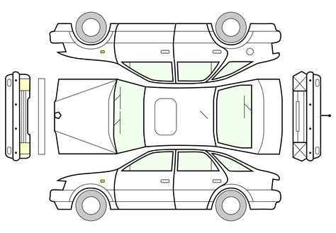 vehicle diagrams clipart unfolded car