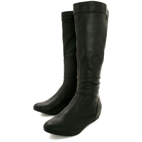 black knee high boots with heel buy aileen wedge heel stretch knee high boots