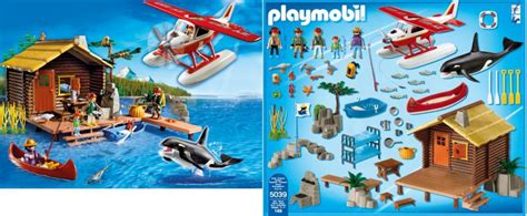 playmobil log cabin playmobil set 5039 fishing cabin with float plane and