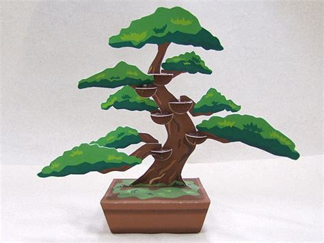 Paper Craft Square - bonsai decoration free papercraft