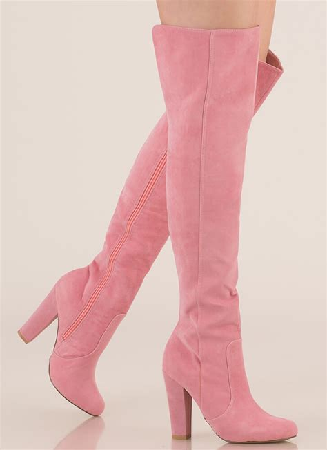 Boots Pink walking the knee boots black pink mauve