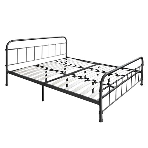Metal Bed Frame With Slats Black 1 Ikayaa Metal Platform Bed Frame With Wood Slats Size Black Lovdock