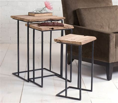 cool side tables recycled railway tie side tables cool material