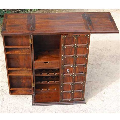 Solid Wood Bar Cabinet Solid Wood Home Bar Wine 18 Bottle Rack Liquor Storage Cabinet Furniture New Ebay