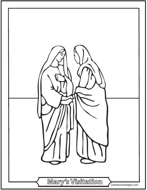 visitation coloring page mary visits elizabeth
