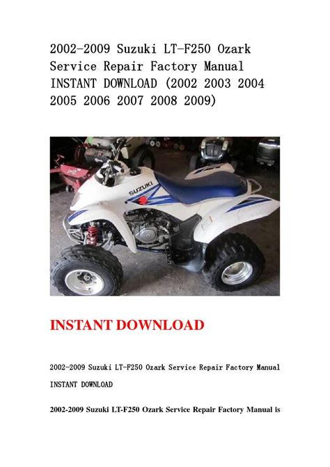 Suzuki Ozark 250 Service Manual 2002 2009 Suzuki Lt F250 Ozark Service Repair Factory