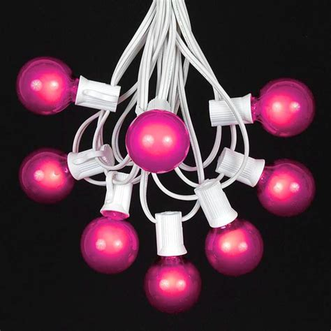 Pink G40 Globe Round Outdoor String Light Set On White Clear Globe String Lights White Wire