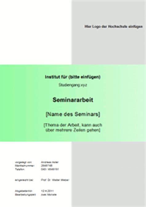 Word Vorlage Seminararbeit Das Deckblatt Einer Seminararbeit